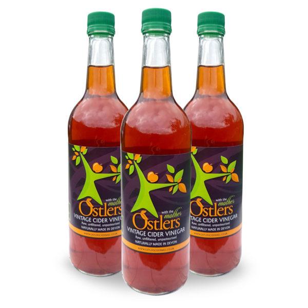 Ostlers Award Winning Organic Apple Cider Vinegar ACV Vintage with Mother 3x0.75L