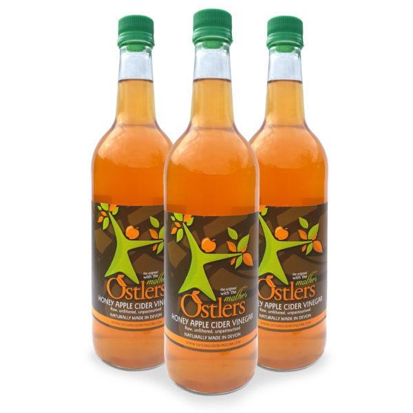 Ostlers Award Winning Organic Apple Cider Vinegar ACV Honey 3x1L bottles